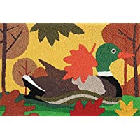Mallard Duck with Fall Leaves Washable 21 X 33 Area Accent Jellybean Rug