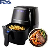 Kiaster Air Fryer, 3.7QT 10-in-1 Intelligent Airfryer Electric Oil Free Hot Air Fryer XL Cooker, Touch Screen Control, Dishwasher Safe, Metal Inner Housing