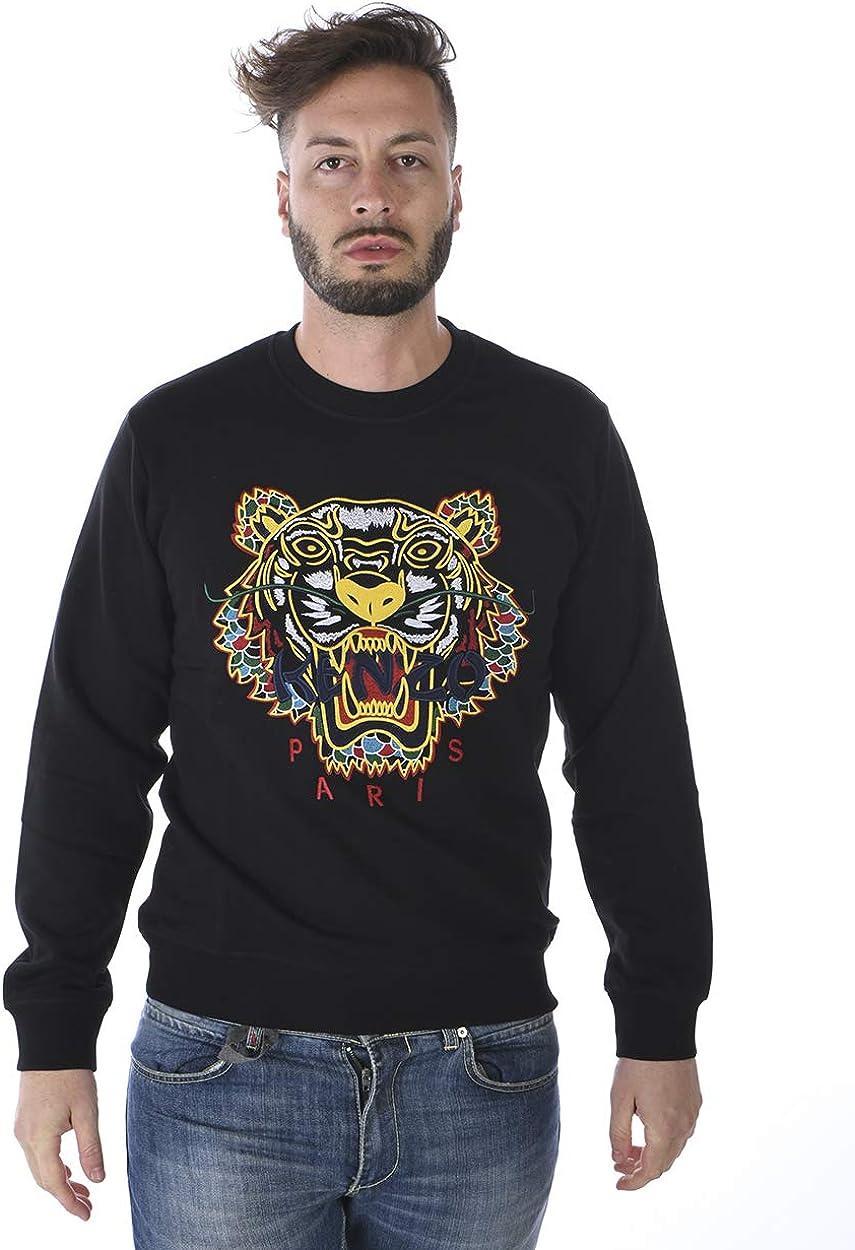 Kenzo Hombre Dragón Tigre Sudadera, Cuello Redondo Negro Suéter