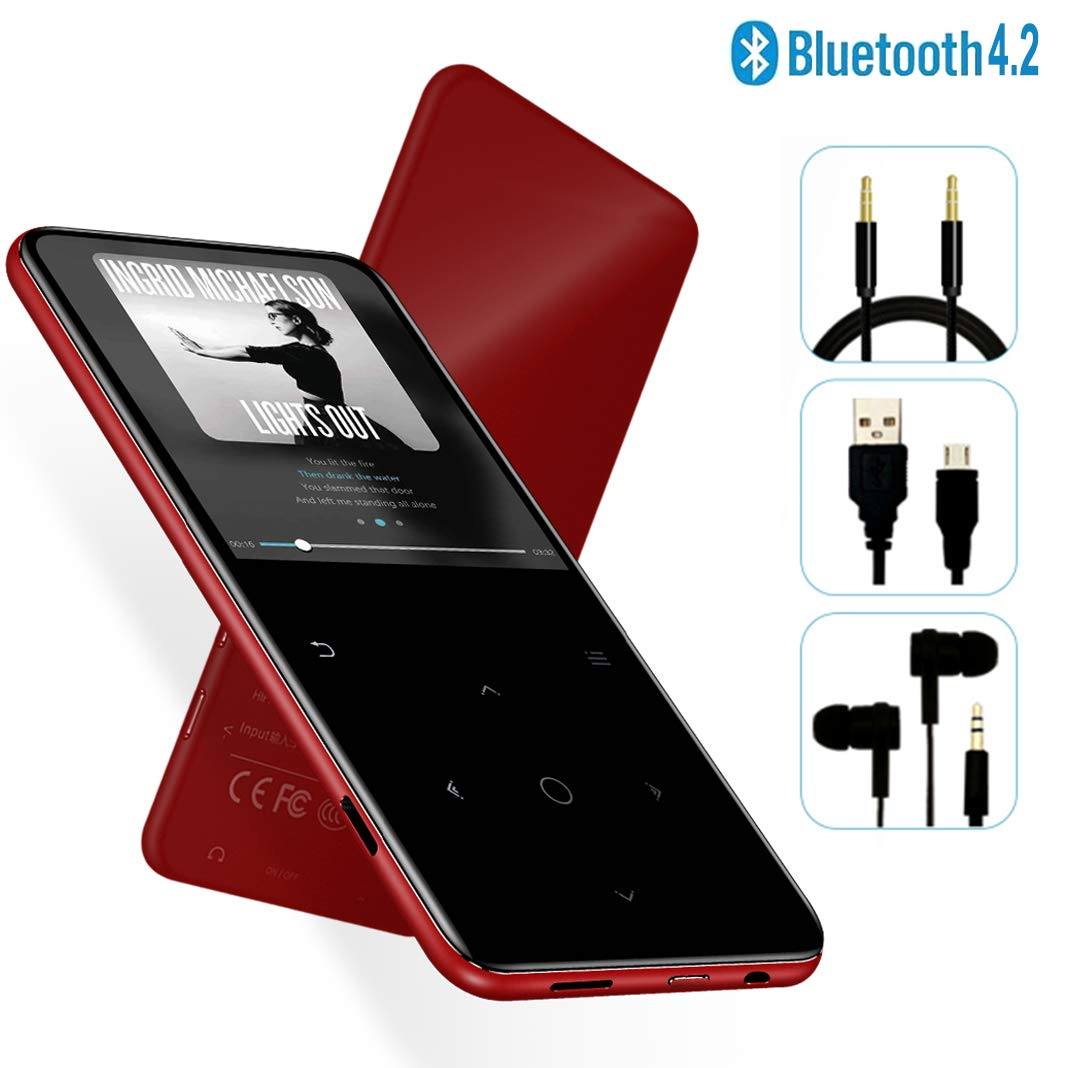 MP3 Player - [2019 May Newest Model] Bluetooth 4.2 Thin Body 2.4'' TFT & 2.4D Sides Curved Large Screen Player Built-in Speaker, with FM & Voice Recorder, Expandable 128GB TF Card, H6-Red