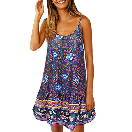 569aa3c8f0e35 Amazon.com: OrchidAmor Women Floral Swing Beach Short Dress Bohemian Printed  Ethnic Style Dresses: Clothing