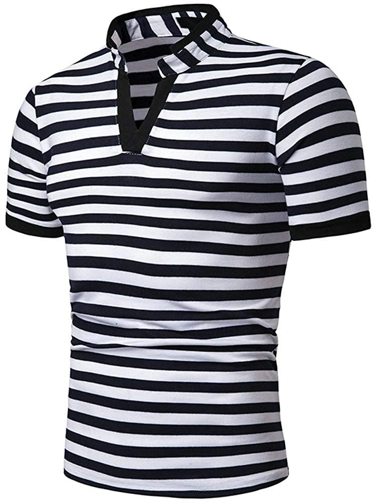 TuGui Mens Casual Stripe Collar Short Sleeve Polo T-Shirts