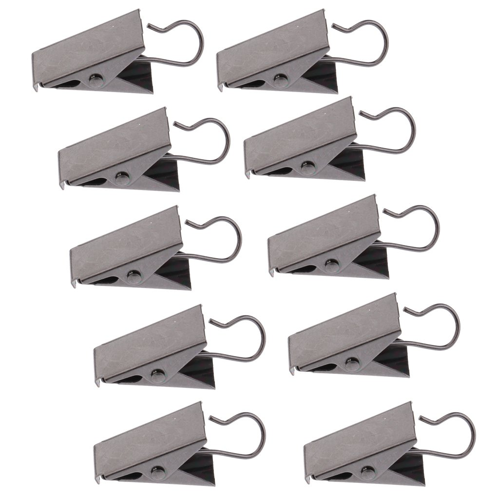 MonkeyJack 10Pcs Heavy Duty Curtain Clips With Hook, Door Panel Spring Clamps, Strong Catcher Hook Clips - Gold