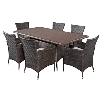 Best Selling Home Decor Furniture Isabella Wicker 7 Piece Rectangular Patio  Dining Set With Cushions
