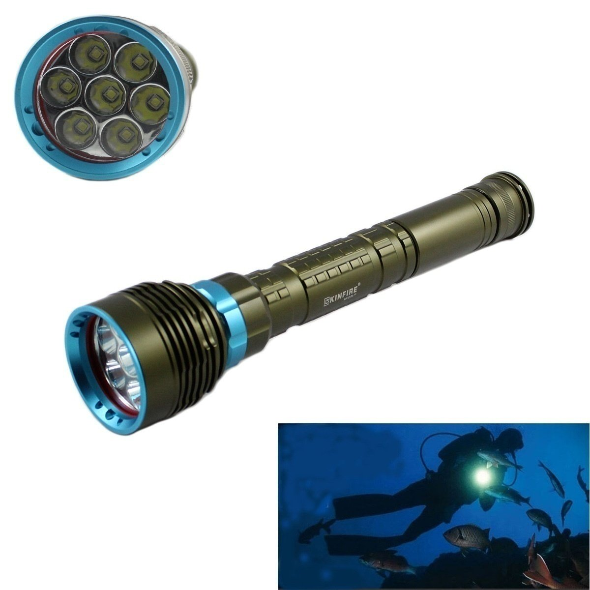 Rechargeable 7x CREE XM-L2 LED Underwater Diving Flashlight Extended Torch Power by 26650 Battery B01M32YG66