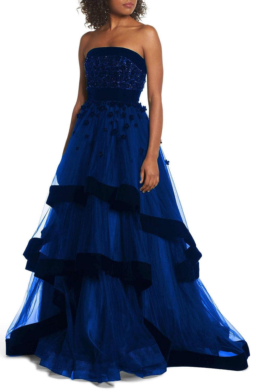 bluee Aishanglina Women's Off The Shoulder Velvet Petals Strapless Evening Dress Party Cocktail Ball Gown