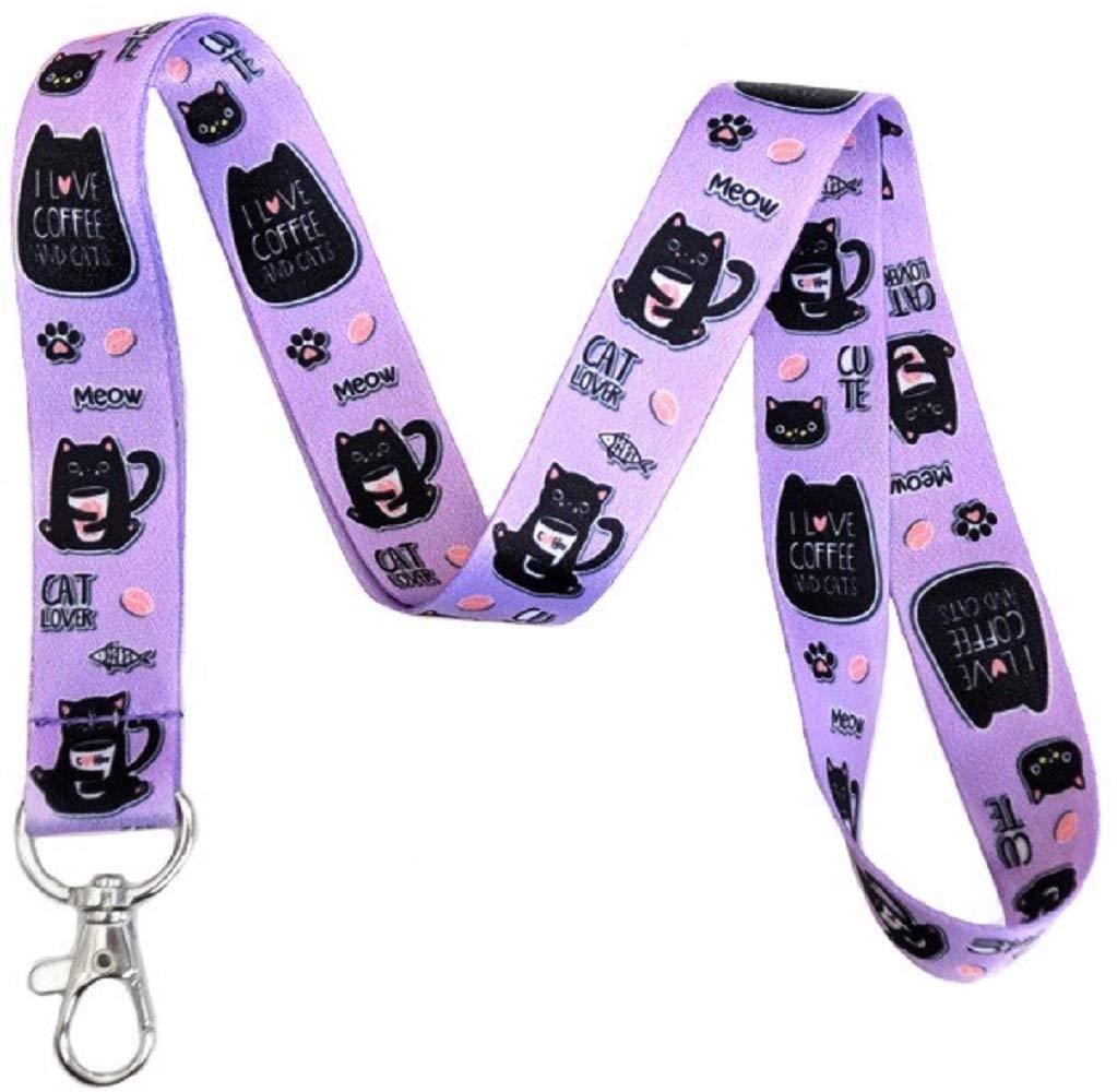 Coffee Cats Lanyard Keychain Id Holder