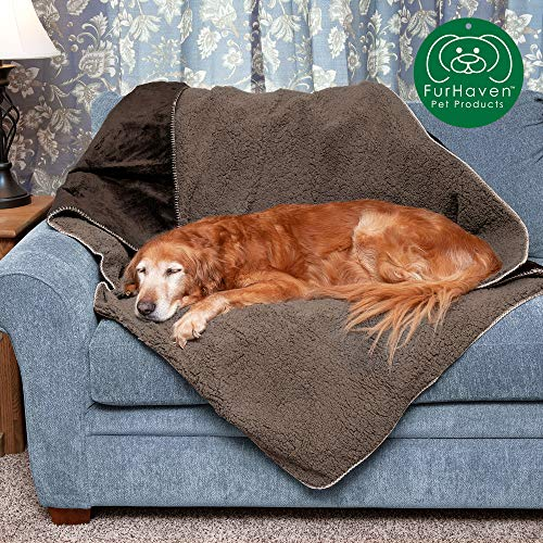 Furhaven Pet Dog Bed Blanket | Snuggly & Warm Faux Lambswool & Terry 100% Waterproof Insulated Thermal Self-Warming Pet Bed Throw Blanket for Dogs & Cats, Espresso, Large