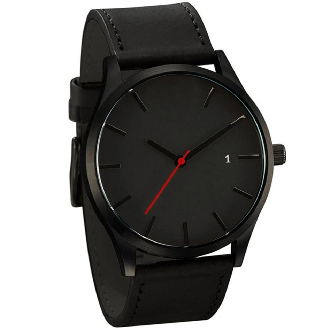 Kinruiファッション人気low-keyミニマリストconnotationレザーメンズクォーツ腕時計 ブラック  Model A B077LRS7K4