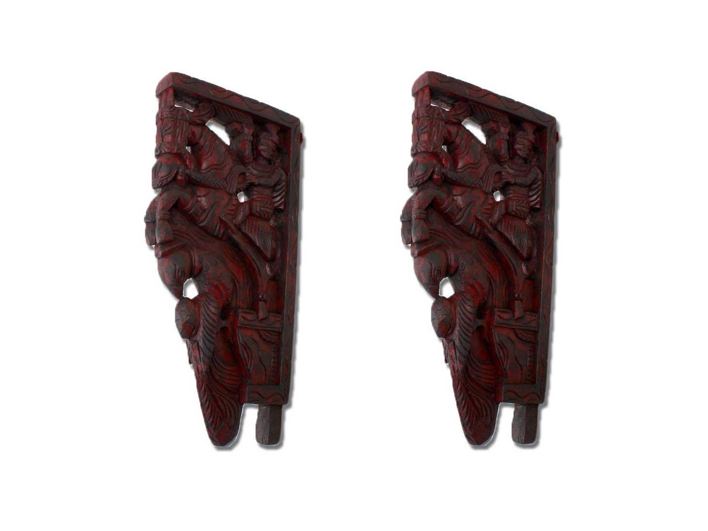 IndianShelf Handmade Decorative New Design Wooden Horse Riding Wall Bracket Home Décor Online