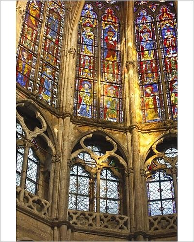 10x8 Print of Stained glass windows inside Saint Pierre church abbey in Chartres (Abbey Stained Glass Print)