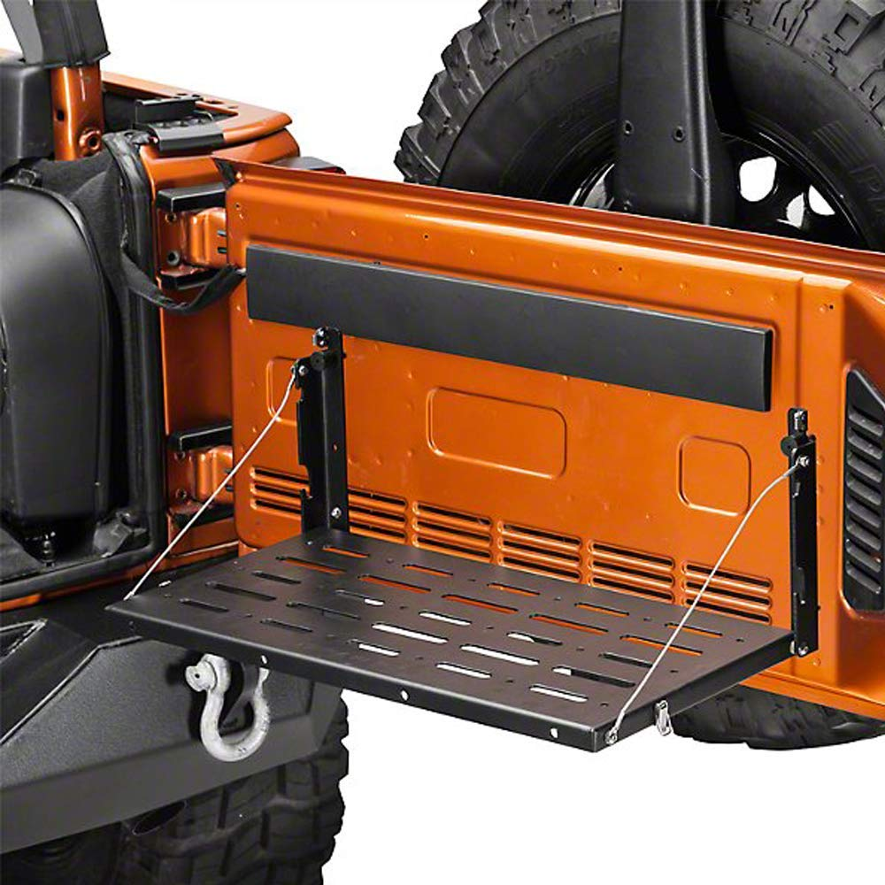 Tailgate Table Rear Foldable Back Tailgate Table Cargo Shelf Carrier Support up to 75lb Fit for 2007-2017 J-eep Wrangler JK 2//4 Doors