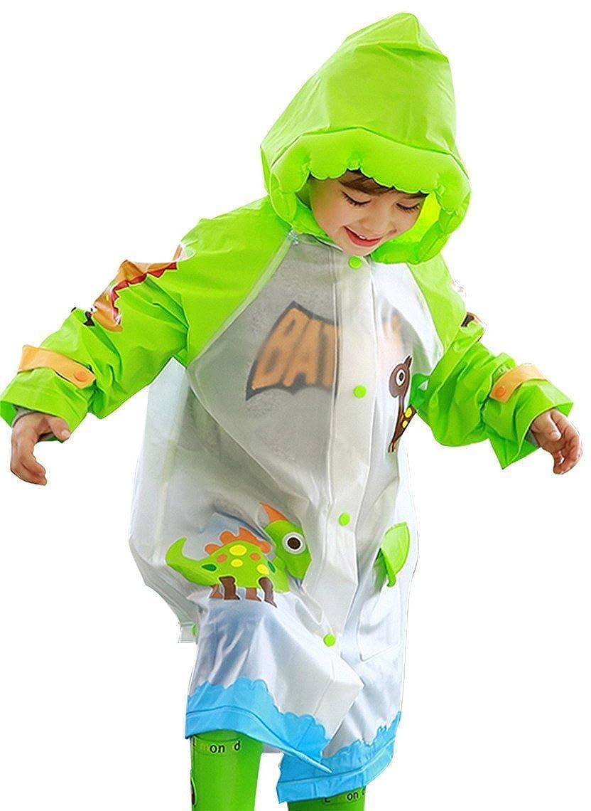幼児用男の子レインウェアグリーン恐竜フード付きスクールバッグカバーロング雨ポンチョ X-Small  B01GZLSQJE