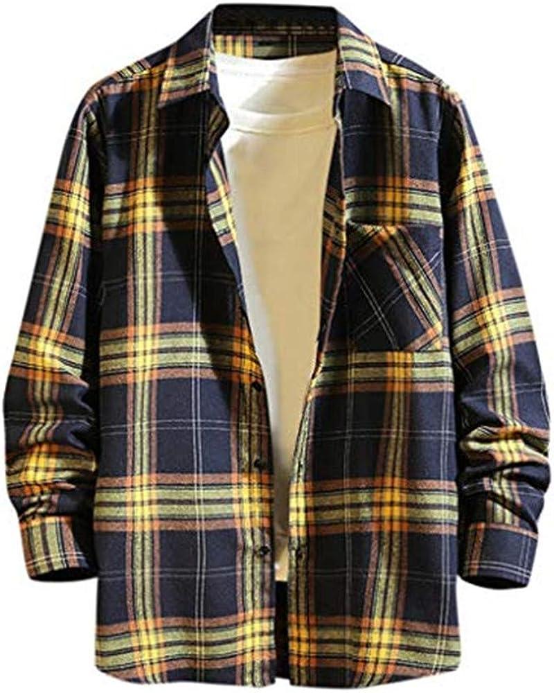 Abetteric Mens Leisure Short-Sleeve Button Oversized Plaid Lapel T-Shirts Shirt