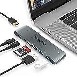 BHOMEA Type C ハブ 3.1 7in1 Macbook Pro 13/15インチ用 MacBook Air 13 2018 USB C ハブ アダプタ 4K HDMI PD急速充電 Thunderbolt 3 USB 3.0ポート*2 マルチ変換アダプタ 高速データ転送 SD&MicroSDカードスロット アルミニウム コンパクト 軽量MacBook 、Google、 Lenovo、Windows OS対応(グレー)