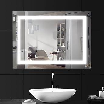 LEBRIGHT 18W 80*60cm lampe miroir salle de bain led,Miroir LED Lampe de  Miroir Éclairage Salle de Bain Miroir Lumineux Solide de Verre Trempé ...
