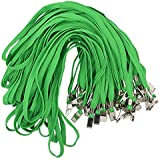 Bird Fiy 50 Pcs Cotton Lanyard Bulldog Clip 32-inch Flat Braid Neck Lanyard for Id Cards/badges (Green)