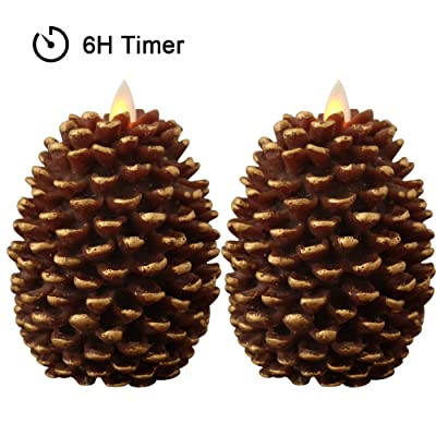 Wondise Pine Cone Flameless Flickering Candles with 6 Hour Timer, Set of 2 Battery Operated LED Moving Wick Real Wax Christmas Decoration Candles(3.5 x 4.7 Inches, Brown): Home Improvement