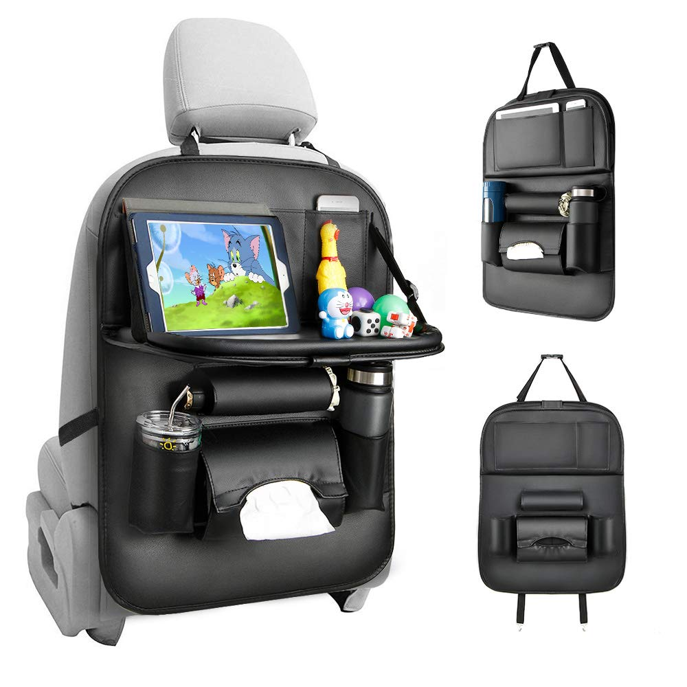 Tsumbay Car Seat Organizer, Car Organizer Back Seat Protector Kick Mats for Kids PU Leather Car Storage Organizer with Foldable Table Tray, Tablet Holder, Tissue Box, Multi Pockets (Black 1 Pack) by Tsumbay