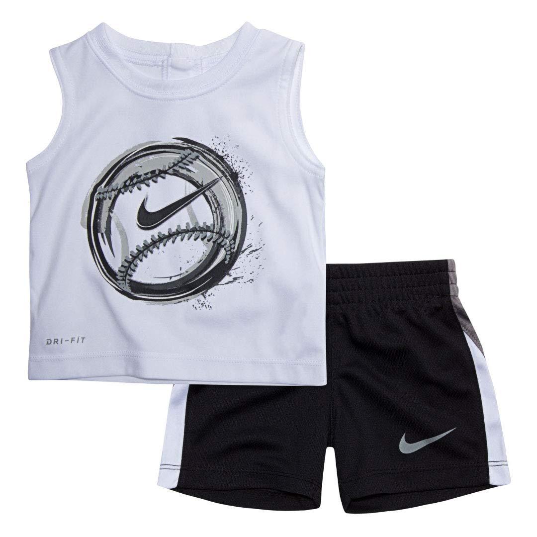 Nike Boy`s Dri-Fit T-Shirt & Shorts 2 Piece Set (White(66D253-001)/Black, 12 Months)