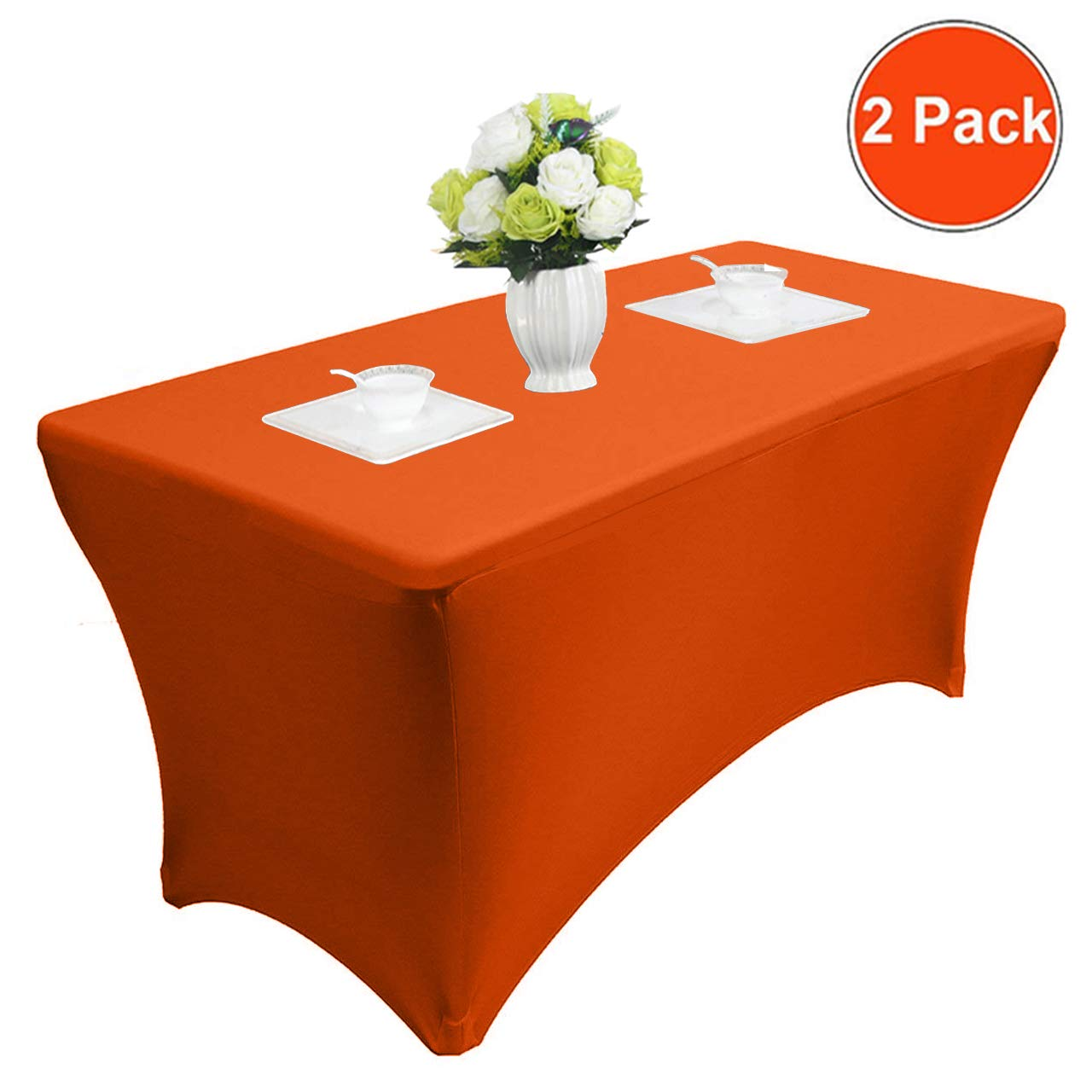 Reliancer 4\6\8FT Rectangular Spandex Table Cover Four-Way Tight Fitted Stretch Tablecloth Table Cloth for Outdoor Party DJ Tradeshows Banquet Vendors Weddings Celebrations 4FT,Blue