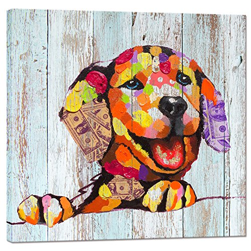 - Visual Art Decor Vintage Happy Dog on Wood Background Creative Wall Art Animals Canvas Print Framed and Stretched Home Decor (Retro Dog)