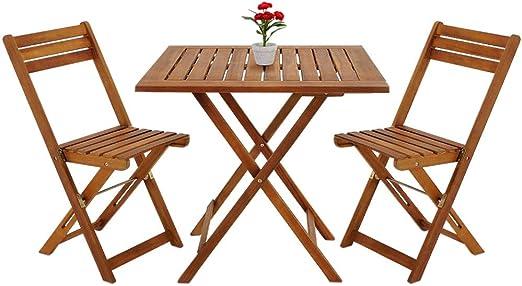 Deuba Conjunto de balcón juego de 1 mesa y 2 sillas plegables de madera de Acacia 60 x 60 cm terraza jardín: Amazon.es: Jardín