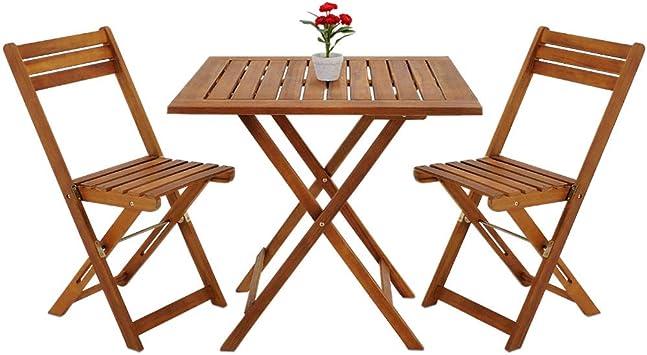 Deuba - Ensemble de Jardin en Bois d\'acacia • 1 Table et 2 chaises Pliables  - Salon de Jardin, Balcon, terrasse, Ensemble Table et chaises