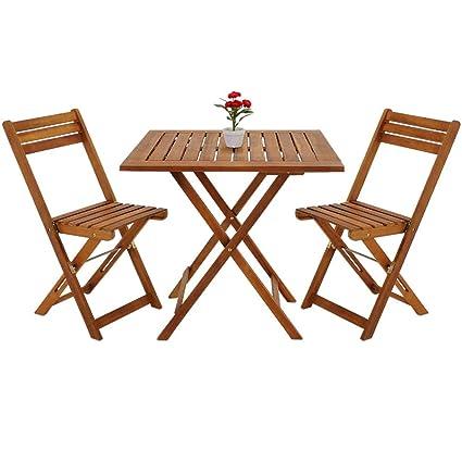 Tisch Balkon Garten.Deuba Balkonset 3 Tlg Akazien Holz 2x Klappstuhl 1 Tisch 60x60cm Klappbar Balkon Garten Möbel Bistroset Sitzgruppe
