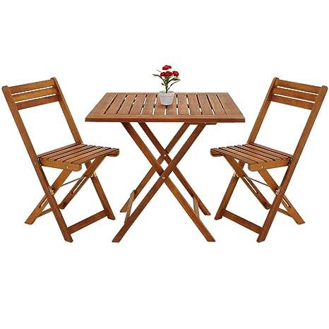 Deuba Conjunto de balcón juego de 1 mesa y 2 sillas plegables de madera de Acacia 60 x 60 cm terraza jardín