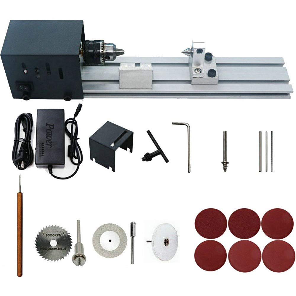 HUBEST 4000-8000 rev/min 7 speed power supply Precise Mini Wood Lathe Machine Mini DIY Woodworking Lathe Drill for Model Making by HUBEST