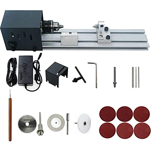HUBEST 4000-8000 rev min 7 speed power supply Precise Mini Wood Lathe Machine Mini DIY Woodworking Lathe Drill for Model Making