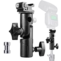 FOTYRIG Camera Flash Speedlite Mount, Professional Umbrella Speedlite Holder Camera Flash Bracket Swive Light Stand Flash Adapter for Canon Nikon Pentax Olympus Nissin Metz and other Speedlite Flashes E Type