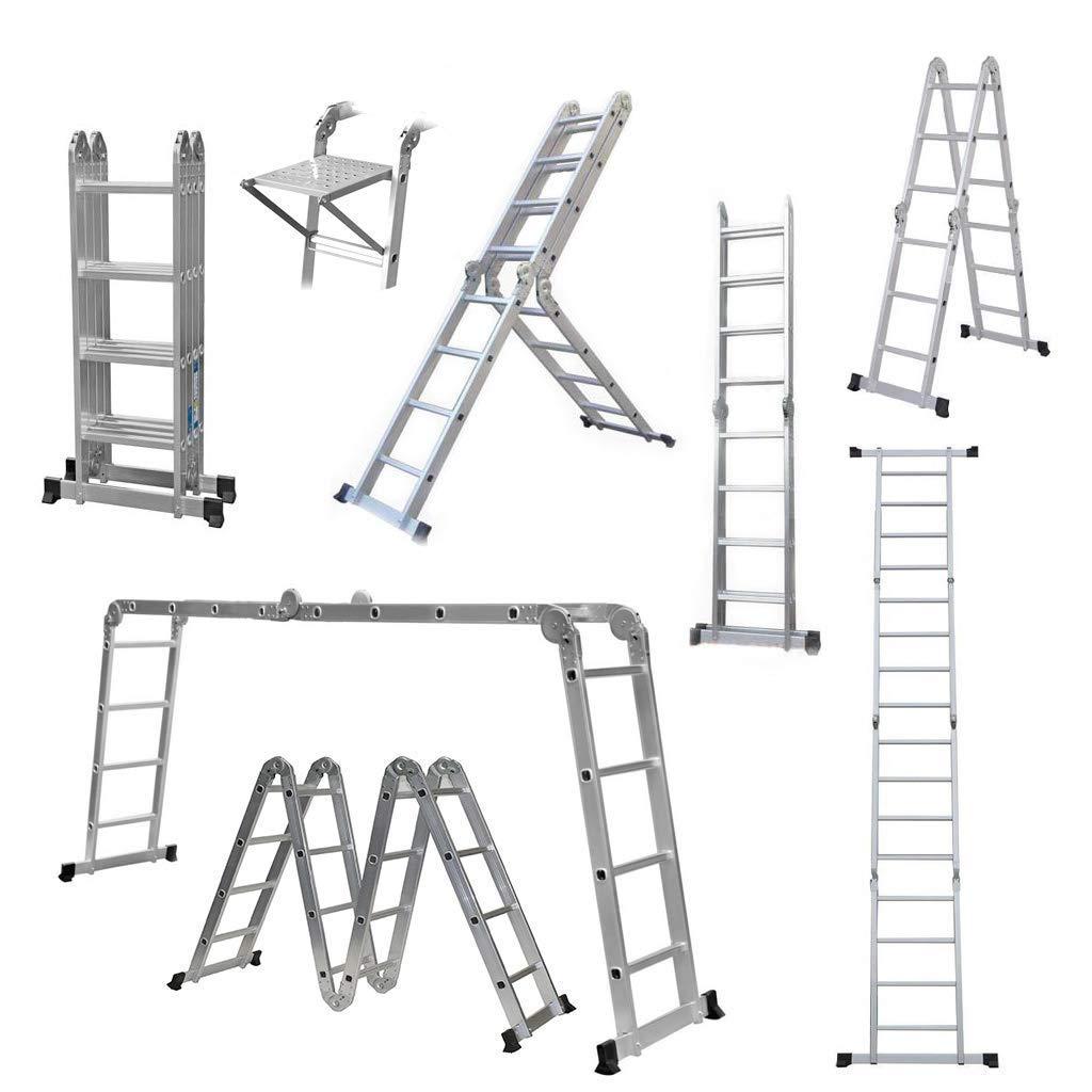 Multi-Function Ladder 4.7m / 15.5FT & 3.6m / 11.8FT Multi-Purpose Folding Aluminium Ladder, Heavy Duty Load Capacity 150Kg, Step Folding Ladder 3.6 M { Ladder with Work Platform } SHOPPERS STOP