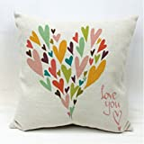 "SLS Cotton Linen Decorative Throw Pillow Case Cushion Cover Happy Day 18 ""X18 "" (19)"