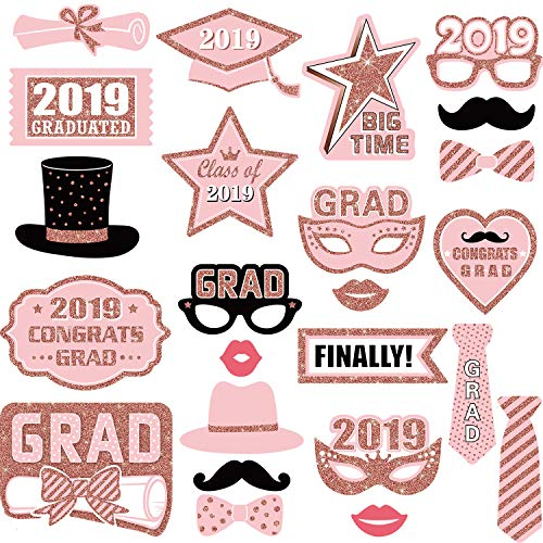24 Pieces Graduation Party Photo Booth Props Kit, Pink 2019 Graduation Party Decorations for Grad Party Favors Supplies -