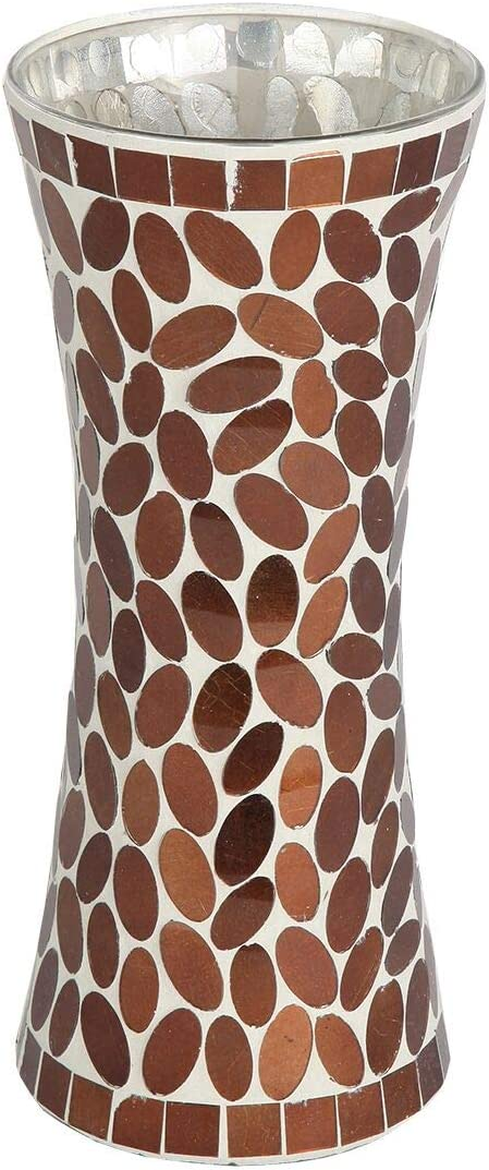 Lily's Home Colorful Mosaic Glass Flower Vase for Flower Centerpieces. 11.5 Inch Tall (Copper)