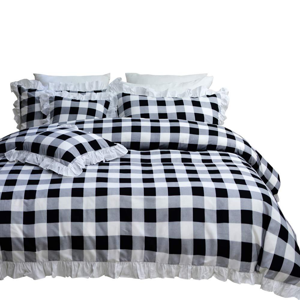 TEALP Buffalo Check Bedding Queen with White Ruffles (Queen,1 Duvet Cover + 2 Pillow Cover)