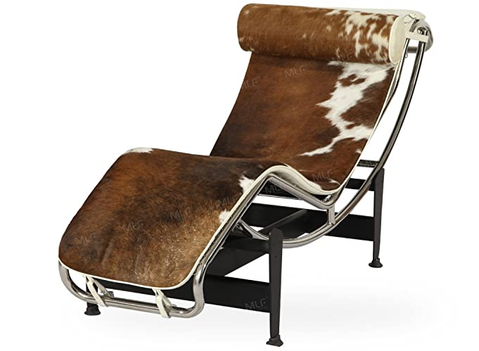 Amazoncom MLFu0026reg Le Corbusier Style LC4 Chaise Lounge Chair Top Grain  Authentic Light Brownu0026White Cowhide Fur Kitchen u0026 Dining