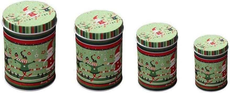 FBGood - Cajas para Caramelos de Navidad, Mini Caja de almacenaje de Hierro Blanco de Metal, Caja de Caramelos, Caja de Almacenamiento de Regalo, Tarro para Galletas, Caja de conserva, Verde, Vert:
