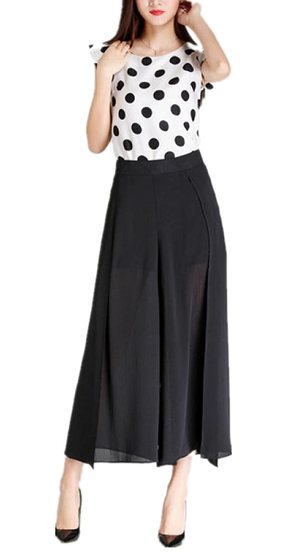 Skirt BL Women's Summer Chiffon Chic Capri Wide Leg Palazzo Maxi Skirt Pants