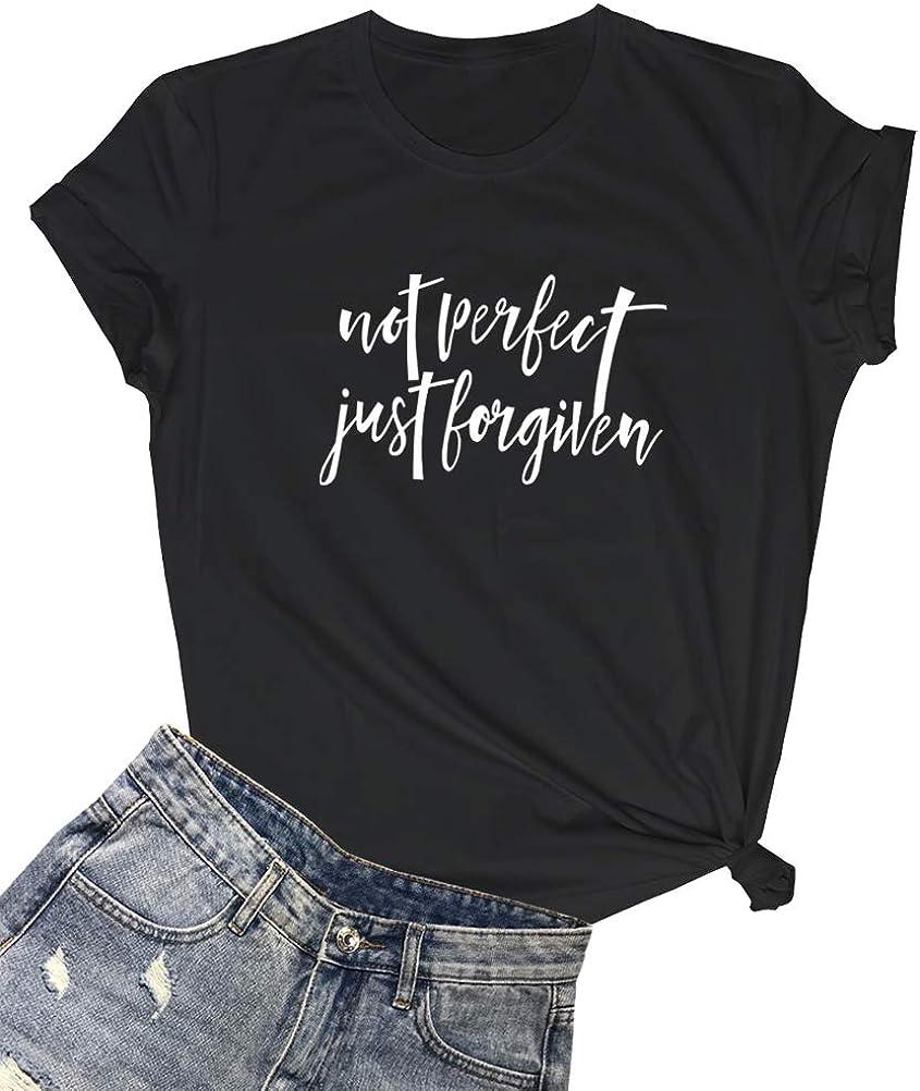 LOOKFACE Women Not Perfect Casual Gprahic T Shirts(Gift Ideas)
