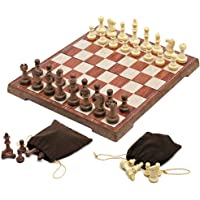"""Magnetic Folding Chess Set,11""""x 9.64"""" Portable Travel Chess Game Board Set,Magnetic Crafted Chess Pieces Storage with 2 Flannelette Bags,Perfect Kids Beginners and Adults"""
