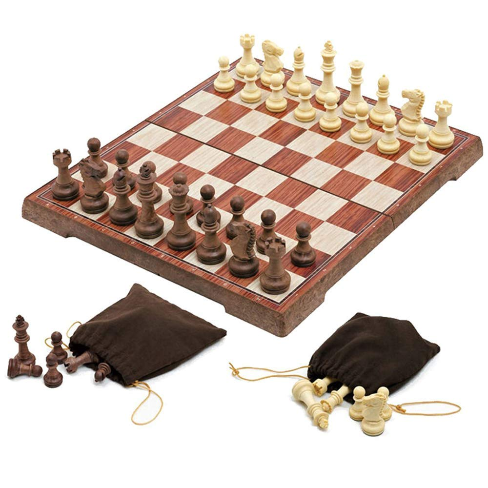 Magnetic Folding Chess Set,11''x 9.64'' Portable Travel Chess Game Board Set,Magnetic Crafted Chess Pieces Storage with 2 Flannelette Bags,Perfect Kids Beginners and Adults by USHunter