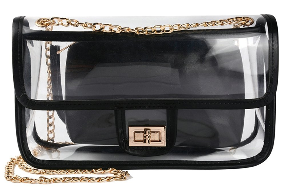 Clear Crossbody Bag for Women,The Transparent Tote bag with Chain Messenger Shoulder Handbag Purse for Stadium Approved by wanture (Image #1)