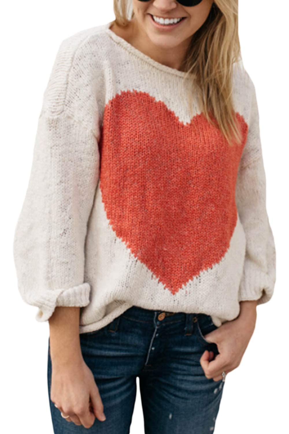 Suvotimo Womens Casual Loose Heart Crew Neck Knit Sweater Tops