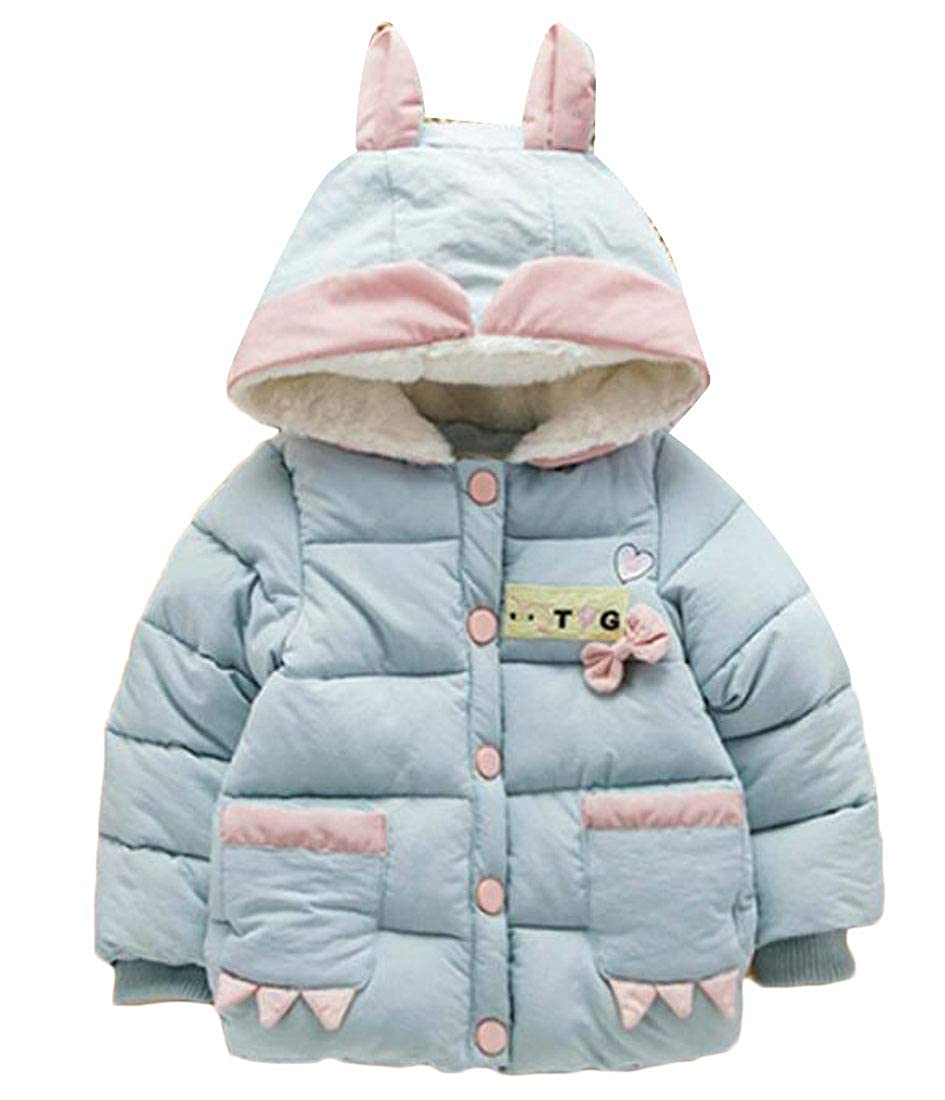 Hajotrawa Girl Padded Snap Button Embroidery Hooded Fleece Puffer Parkas Jacket