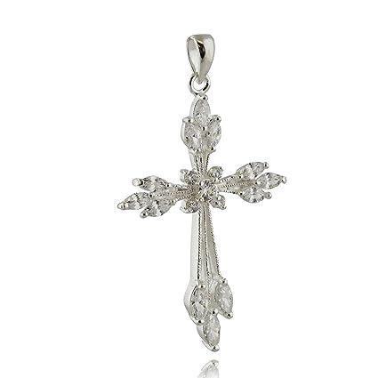 Amazon.com: Colgante de cruz de plata de ley 925 – Marquis ...