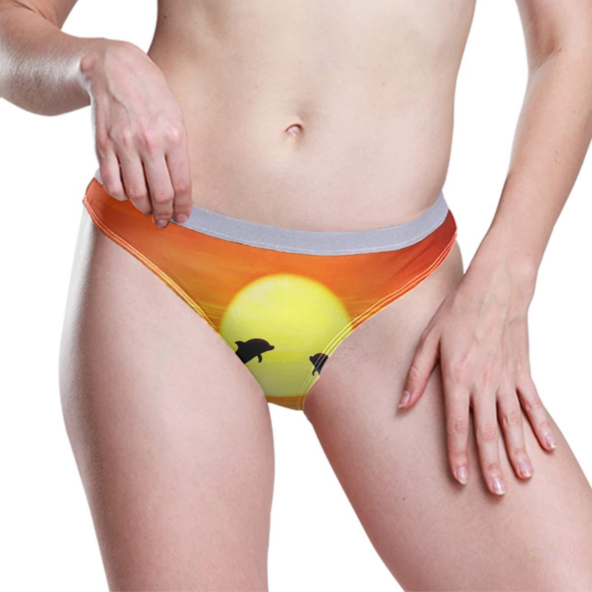 FAJRO Dolphin Sunset Jump Womens Low-Rise Underwear Panties Spandex