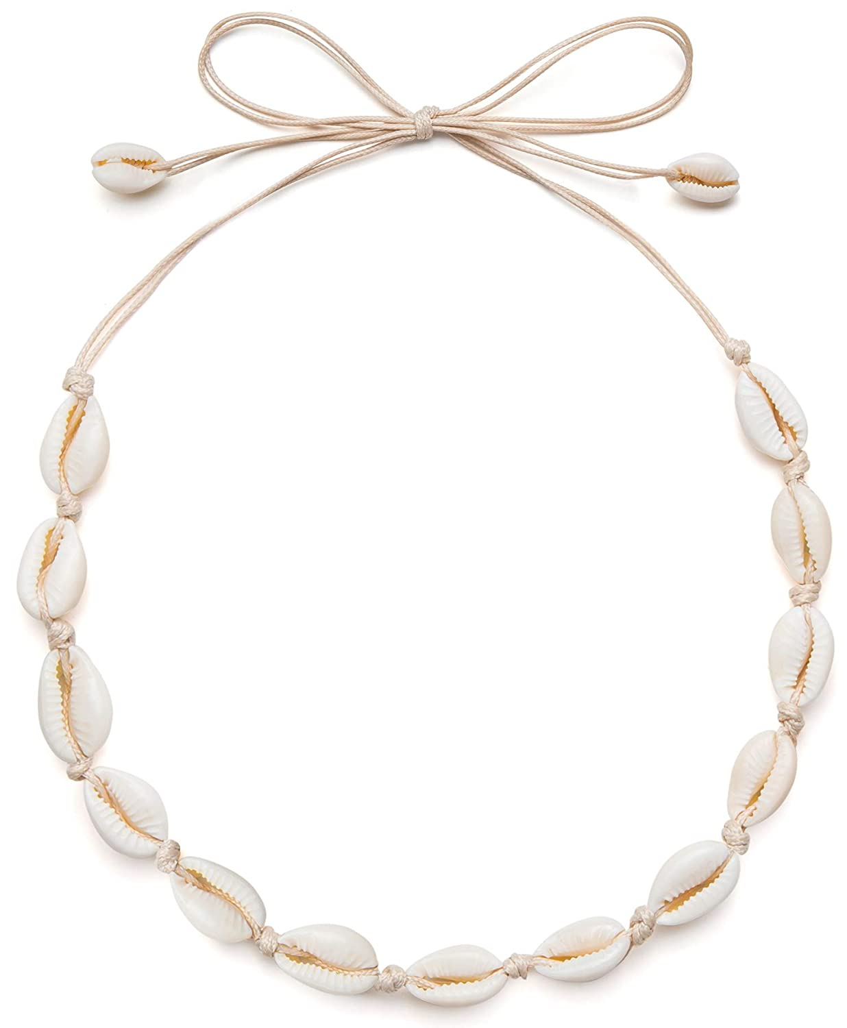 Qceasiy Sea Shell Necklace Choker for Women Summer Hawaiian Style Natural Shell Necklace